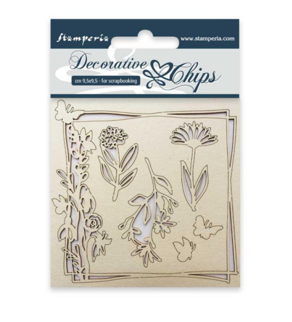 Stamperia Chipboard  Decorative chips 9,5x9,5cm Flowers and butterfly