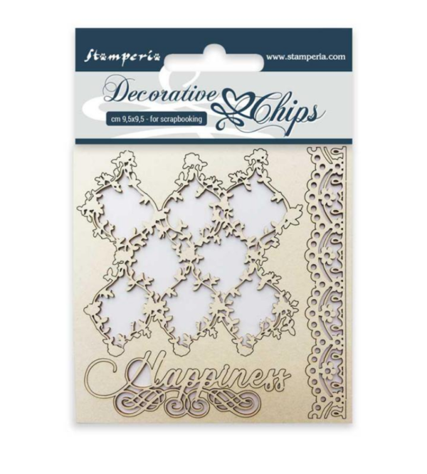 Stamperia Chipboard  Decorative chips 9,5x9,5cm Lace and border