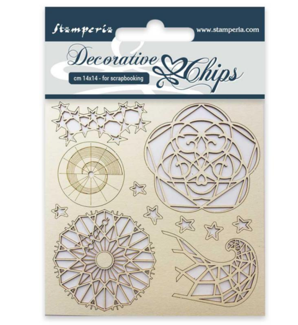 Stamperia Chipboard  Decorative chips 14x14cm Arctic